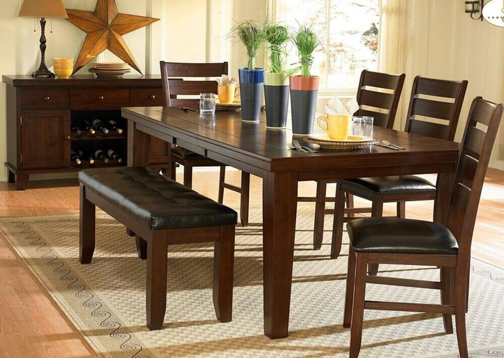Image of: Dining Room Table with Bench Set