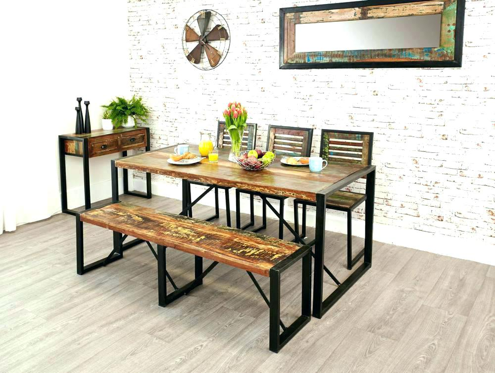 Image of: Farmhouse Dining Room Table with Bench