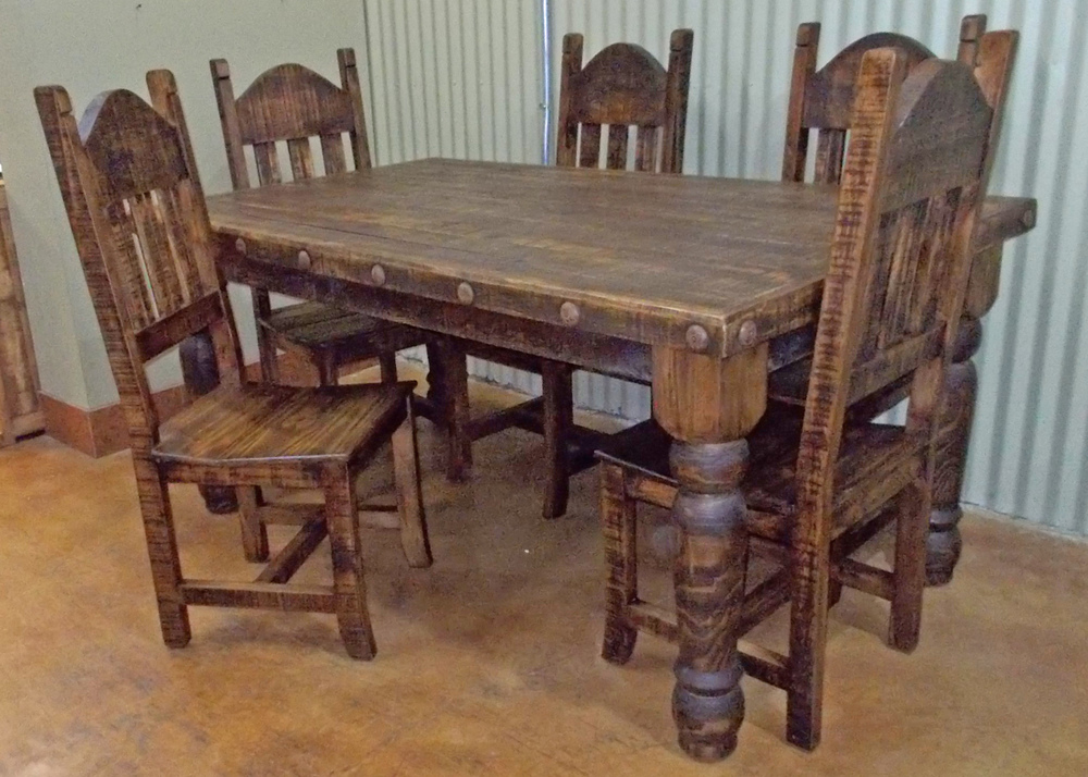 Image of: Rustic Dining Room Table and Chair Sets